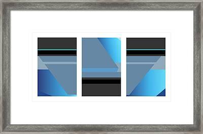 Symphony In Blue - Triptych 1 Framed Print