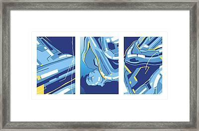Symphony In Blue - Triptych 4 Framed Print