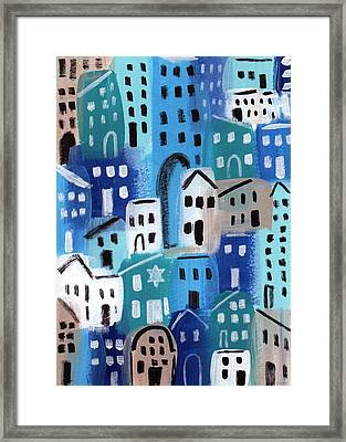 Synagogue- City Stories Framed Print by Linda Woods
