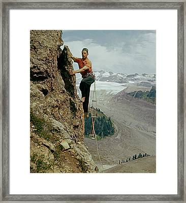 T-902901 Fred Beckey Climbing Framed Print