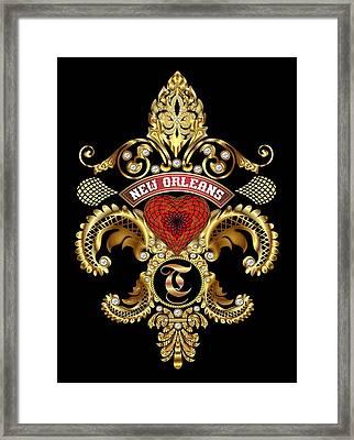 T-fleur-de-lis New Orleans Transparent Back Pick Color Framed Print by Bill Campitelle