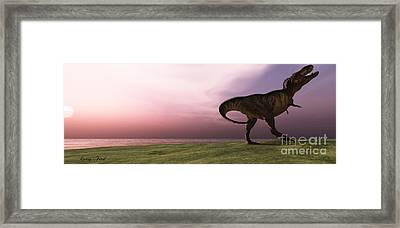 T-rex At Sunrise Framed Print by Corey Ford