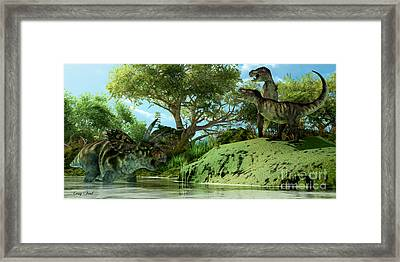T-rex Defiance Framed Print by Corey Ford