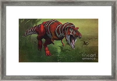 T Rex In Swamp Framed Print by Jerry L Barrett