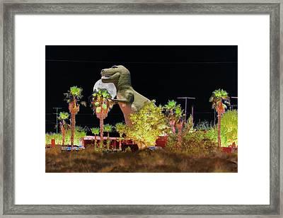 T-rex In The Desert Night Framed Print