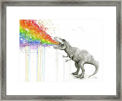 T-rex Tastes The Rainbow Framed Print