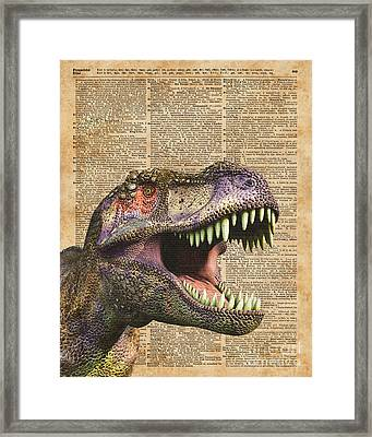 T-rex,tyrannosaurus,dinosaur Vintage Dictionary Art Framed Print by Jacob Kuch