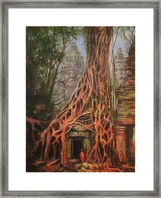 Ta Prohm Cambodia Framed Print by Tom Shropshire