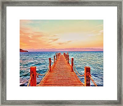 Taba Heights On The Red Sea Pier In The Evening Framed Print