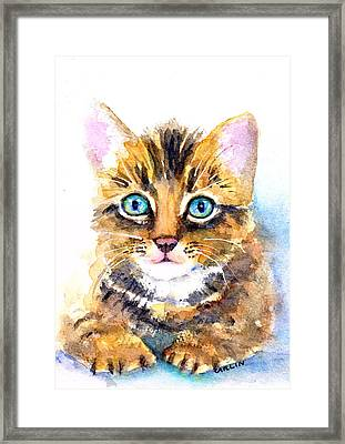 Tabby Kitten Watercolor Framed Print