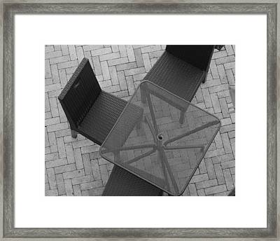 Table Chairs From Above Framed Print by Rob Hans