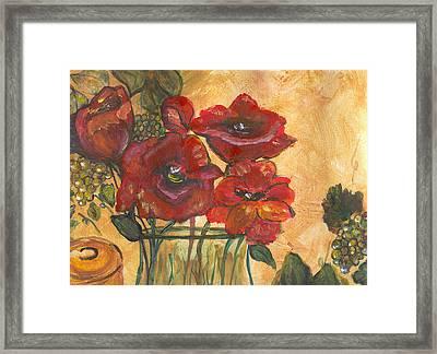 Table Flowers Framed Print by Pamela Wilson