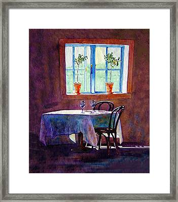 Framed Print featuring the painting Table For Two by Gail Chandler