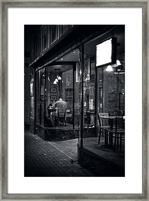 Table For Two In Black And White Framed Print