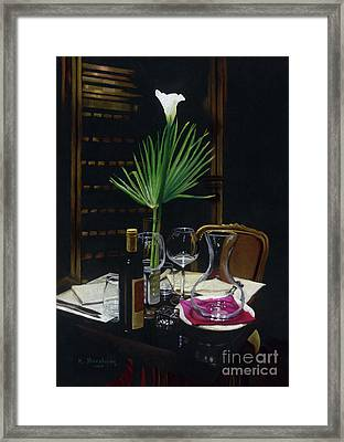 Table For Two A Night's Promise Framed Print by Kelly Borsheim