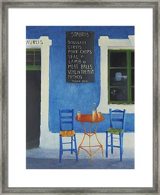 Table For Two Greece Framed Print by Joe Gilronan