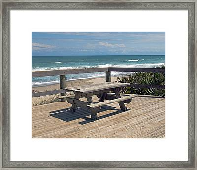 Table For You In Melbourne Beach Florida Framed Print by Allan  Hughes
