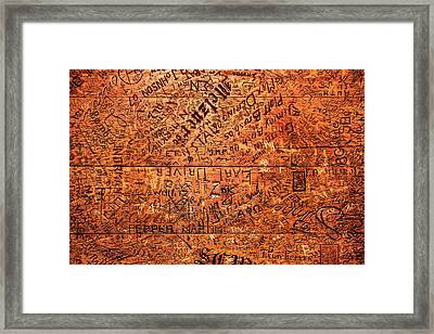 Table Graffiti Framed Print by Todd Klassy