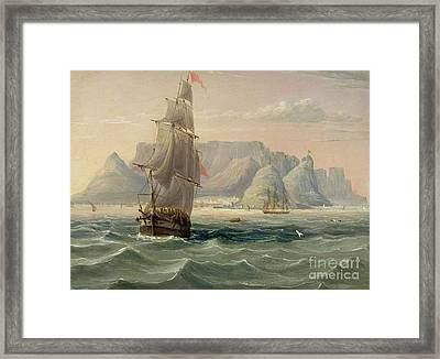 Table Mountain, Cape Town, From The Sea Framed Print by English School