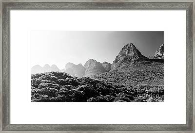 Framed Print featuring the photograph Table Mountain National Park Black And White by Tim Hester