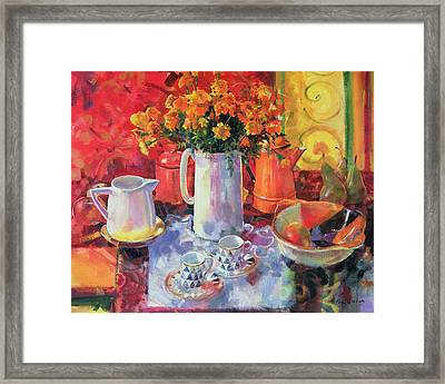 Table Reflections Framed Print by Peter Graham