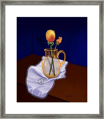 Framed Print featuring the painting Table Roses by Sena Wilson