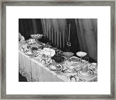 Table Set For Hanukkah Framed Print by Underwood Archives