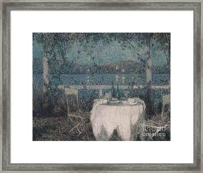 Table Sur La Terasse Au Clair Du Lune Framed Print by MotionAge Designs