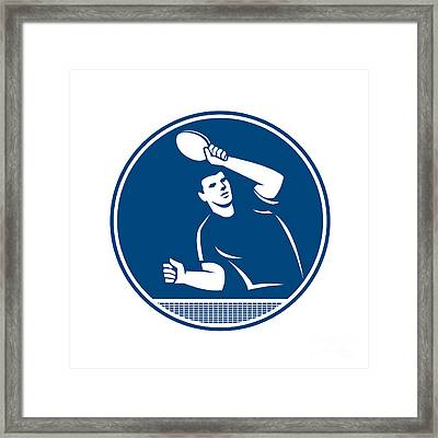 Table Tennis Player Serving Circle Icon Framed Print
