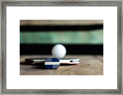 Table Tennis Racket With Ball Framed Print