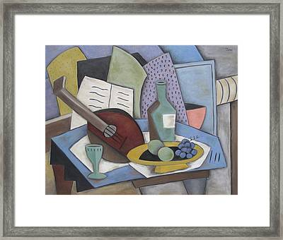 Table With Mandolin Framed Print