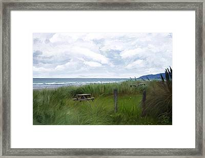 Tables By The Ocean Framed Print