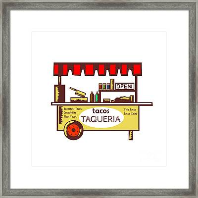 Taco Stand Taqueria Stand Woodcut Framed Print by Aloysius Patrimonio