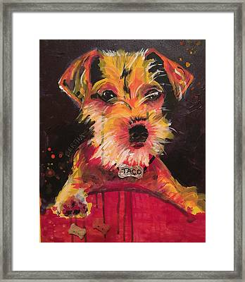 Framed Print featuring the painting Taco Tope Calderon by Karen bertha Calderon