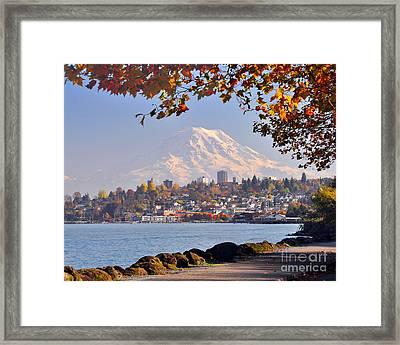 Tacoma N Mt Rainier Framed Print by Jack Moskovita