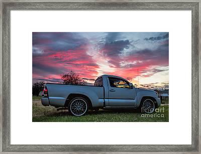 Toyota Tacoma Trd Truck Sunset Framed Print