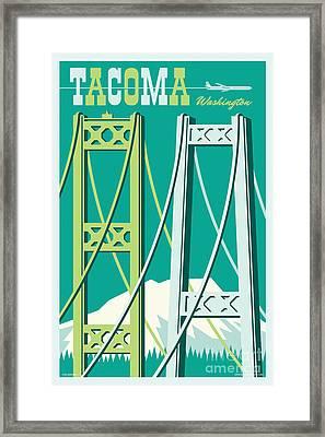Tacoma Vintage Style Travel Poster Framed Print by Jim Zahniser