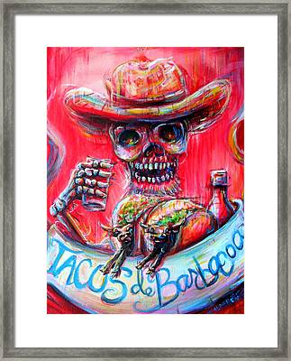Framed Print featuring the painting Tacos De Barbacoa by Heather Calderon