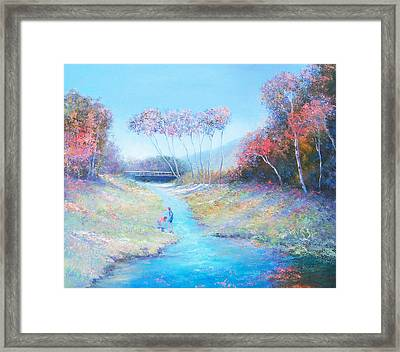 Tadpoling By The River Framed Print by Jan Matson