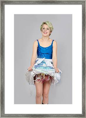 Taetyn In Jelly Fish Dress Framed Print