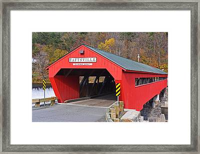 Taftsville Vermont Red Covered Bridge Autumn Waterfall Framed Print by Toby McGuire