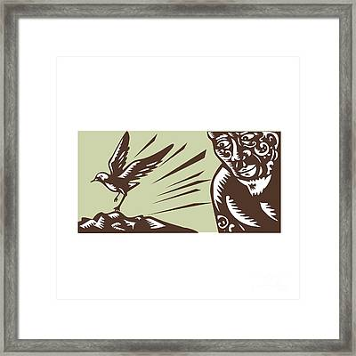 Tagaloa Looking At Plover Bird Woodcut Framed Print