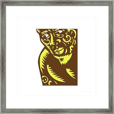 Tagaloa Peeking Woodcut Framed Print