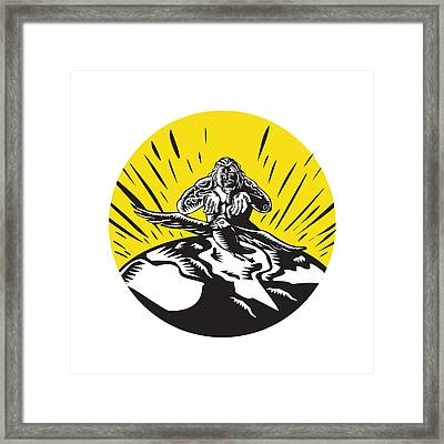 Tagaloa Releasing Bird Plover Earth Woodcut Circle Framed Print by Aloysius Patrimonio