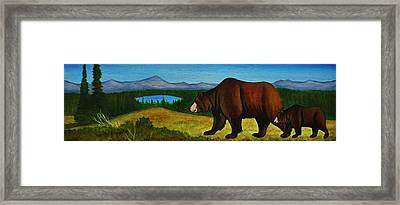 Taggart Lake Bears Framed Print by Lucy Deane
