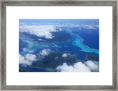 Tahiti Reefs From The Air Framed Print by Owen Ashurst