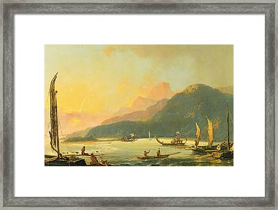 Tahitian War Galleys In Matavai Bay - Tahiti Framed Print by William Hodges