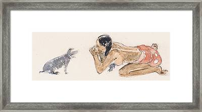 Tahitian Woman With Pig  Framed Print