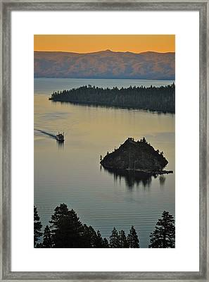 Tahoe Queen Steaming Into Emerald Bay Framed Print