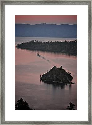 Tahoe Queen Steams Out Of Emerald Bay Framed Print
